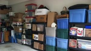 Storage boxes in garage