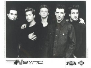 Old 'N Sync promo photo, note Timberlake's curly mug
