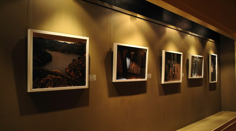 The walls of the gallery are lined with the work.  Here, some of Erik Schubert's work hangs | Photo by Lisa Dukart