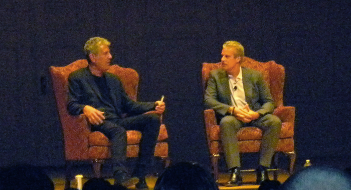 Anthony Bourdain and Eric Ripert chat while drinking some brews. Photo by Annie Rath.