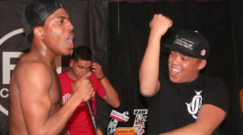 Sonny Shotz, DJ Mendoza and Mik Beats on stage at BU Central | Photo by Heather Vandenengel