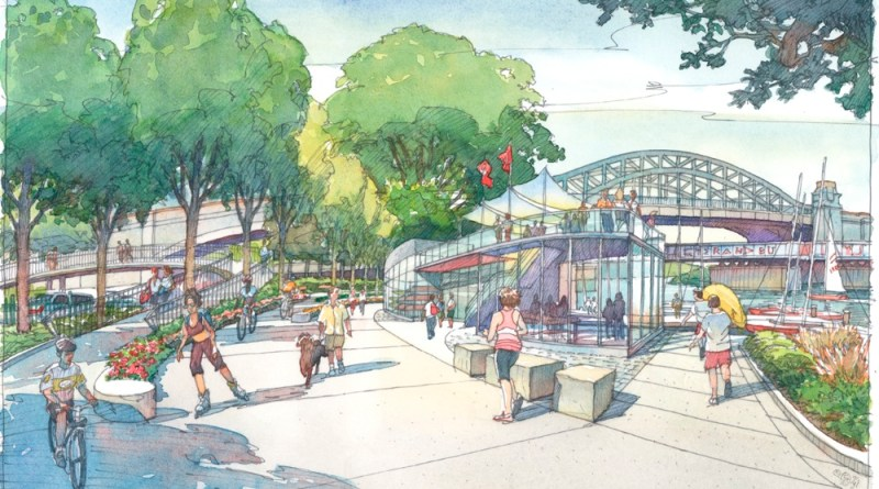 A vision for a new BU Sailing Pavilion on the Esplanade across the highway from the GSU. | Watercolor painting by Frank Costantino