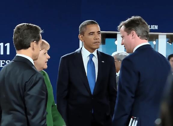 French President Nicolas Sarkozy, German Chancellor Angela Merkel, U.S. President Barack Obama and British Prime Minister David Cameron at the G20 Summit | Courtesy of the White House via Wikimedia Commons