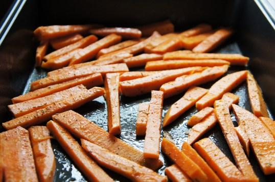 Fries in baking sheet.
