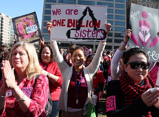 This past Valentine's Day, women protested for an end to violence against women, through VDAY's cause: One Billion Strong. The Vagina Monologues helped to raise money for action.   |   Photo courtesy of Wikimedia Commons user Elvert Barnes