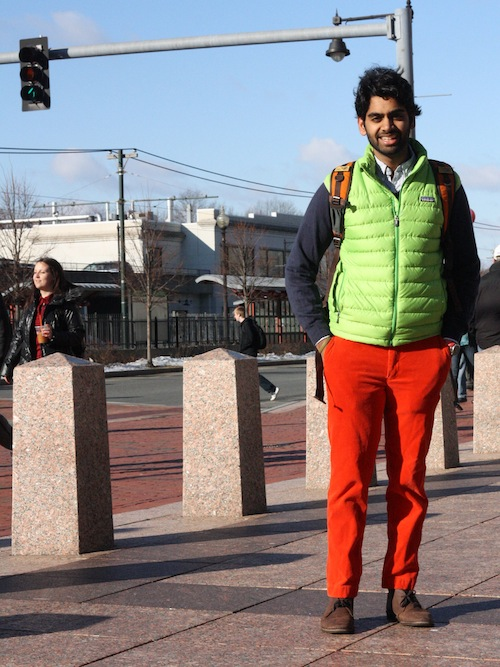 Gopal Srinivas (CAS '13) goes rainbow-brite on a chilly morning in pants from Rugby and a Patagonia Vest. Photo by Sharon Weissburg.