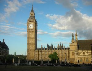 The Palace of Westminster in London, seen from Parliament Square.   Photo courtesy of user Italo-Europeo via Wikimedia Commons