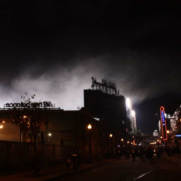 Fenway Park, moments after  the Red Sox won Game 6 of the World Series