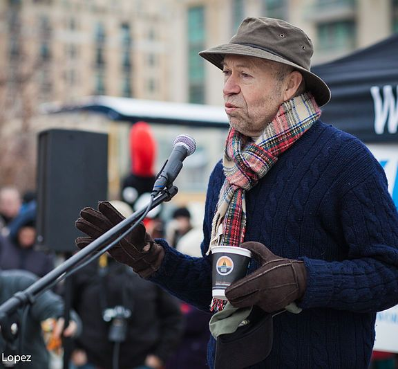 James Hansen, a former director of NASA's Goddard Institute for Space Studies, speaks at the Chesapeake Climate Action Network's polar plunge. Hansen is a scientist turned activist who has taken to protesting against projects like the Keystone XL Pipeline. Photo by Chesapeakeclimate via Wikimedia Commons.