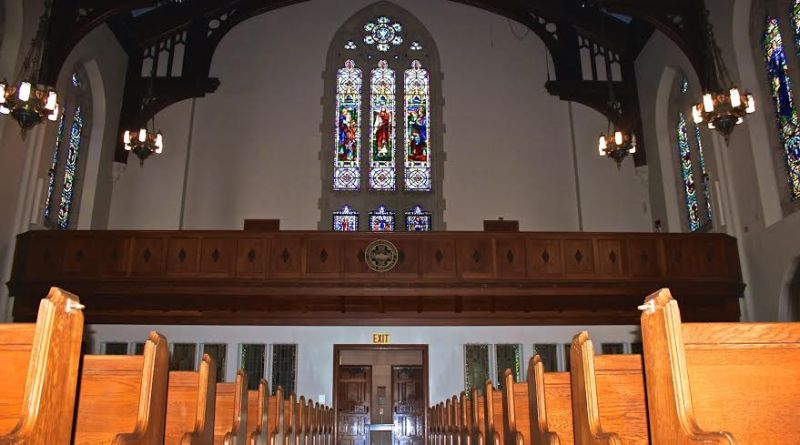 The calming quiet of Marsh Chapel offers a nice respite from Comm Ave   Photo courtesy of Clare Stonich
