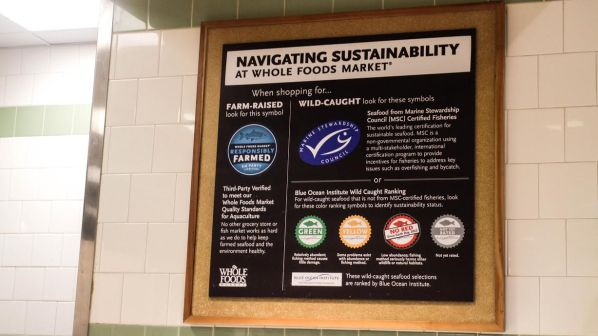 Whole Foods Market in Alewife Brook Parkway, Cambridge, Mass. shows consumers how to navigate seafood sustainability. | Photo by Michelle Marino