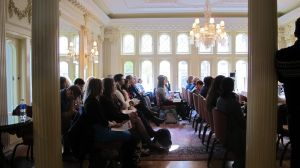 Thursday's Global Conversations panel was held in the stunning BU Castle | Photo courtesy of Moe Atkinson