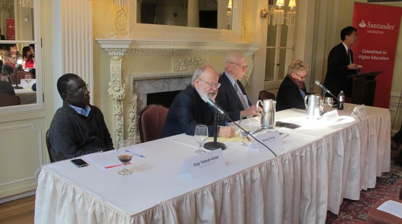Professors Foster, Keylor, Annas, and Yeboah-Antwi sit down to discuss Ebola | Photo courtesy of Moe Atkinson