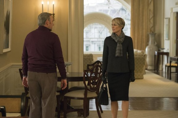 Robin Wright as Claire Underwood breaks ties with her husband. Photo courtesy of Netflix.