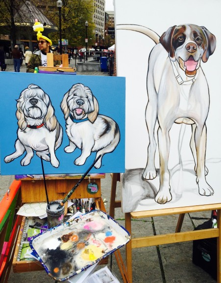 Paintings by Boston-based pet portrait artist Pawblo Picasso (real name Melissa King). | Photo by Olivia Drago