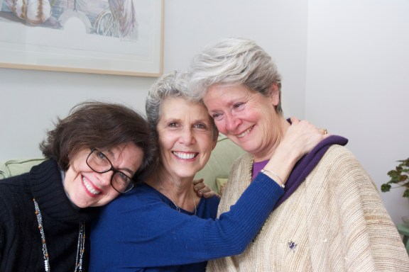 Left to right, Jane Nordli, Michelle Cherney Gillett, Barbara Smith Powell, '69 classmates, suitemates, and life-long friends reunite at Gillett's home in Stockbridge, MA, to interview and film for the documentary. | Photo by Peter Barton