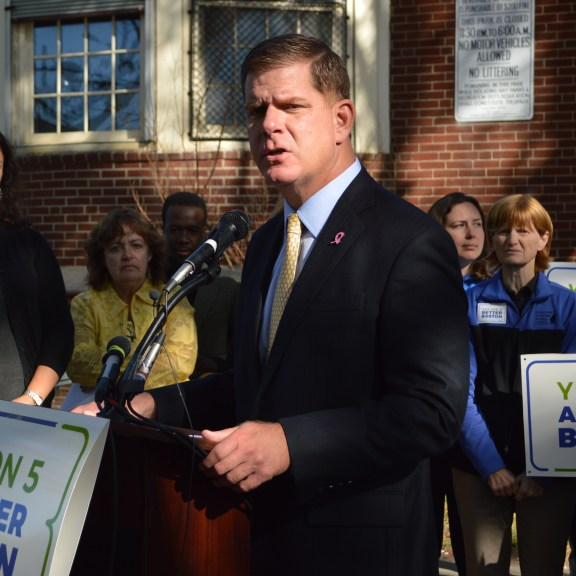 Mayor Marty Walsh asks voters to go to page four to vote yes on 5.