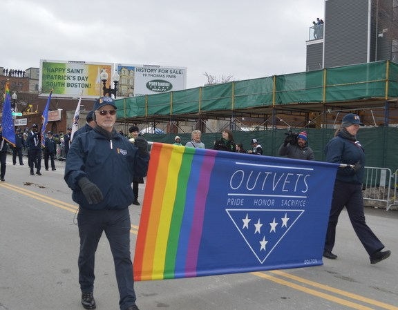 OUTVETS, which was previously banned from the parade, marches in South Boston.