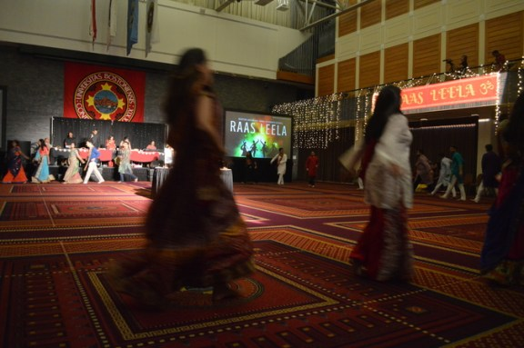 Attendees dance the garba at the Naravaratri Festival.