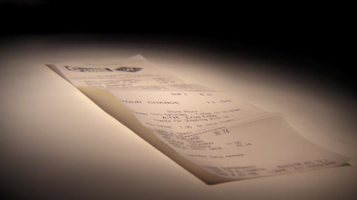 Predicted objects (receipts) exhibition view, Neuberger Museum of Art, New York, 2009.