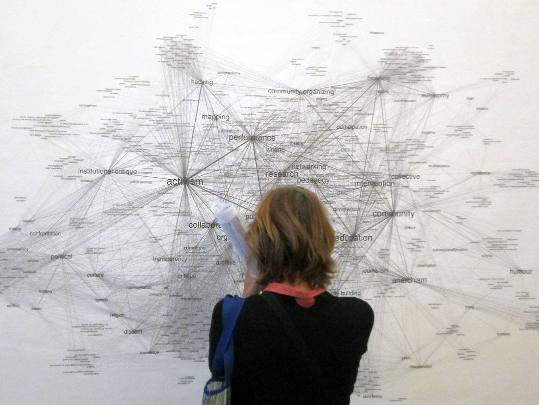 "Exhibition view, ""Tactic Similarity Network"" of Truth is Concrete Marathon, Graz, 2012"
