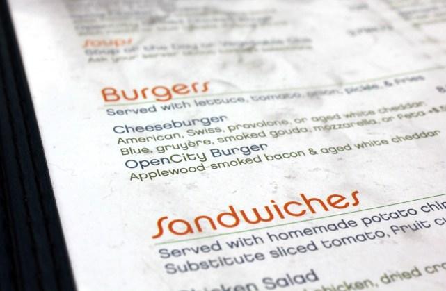 Open City's burgers were top notch, but their menus were diiiirrtyy.