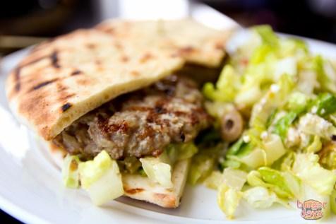 The turkey burger, The Greek.