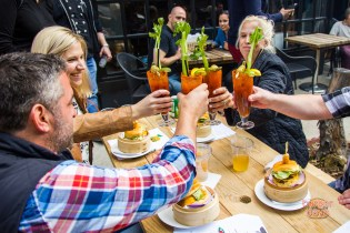 A Bloody Mary toast by the judges.
