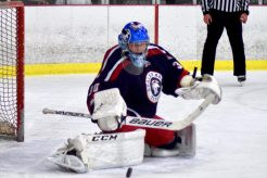 Wyatt Wolf makes a pad save for Shaler.