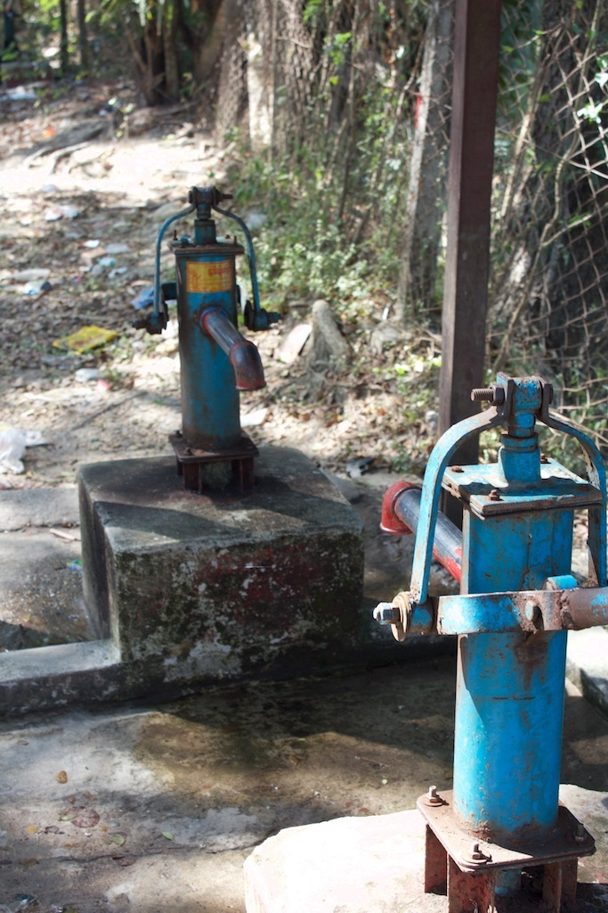 Tube wells at a village across the river.