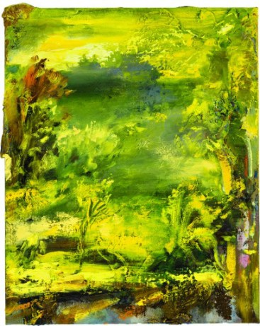 Annie Lapin, The Bright Seeps Forward to Real, 2013; oil and acrylic on linen, 30 by 24 inches. Collection of John McIlwee and Bill Damaschke, Los Angeles.