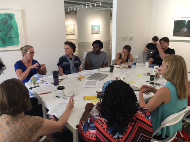 Rainey Knudson leading a workshop for BURNAWAY's Art Writers Mentorship Program.