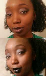 Top: OCC Batty alone Bottom: Batty on top of MUFE 50 Rouge Artist Intense Lipstick