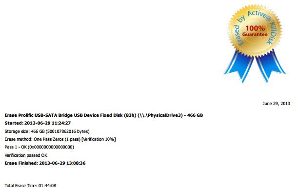 Certificate of drive destruction