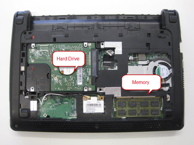 Memory and hard drive in an Acer One D257
