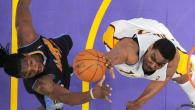 lakers vs nuggets andrew bynum kenneth faried