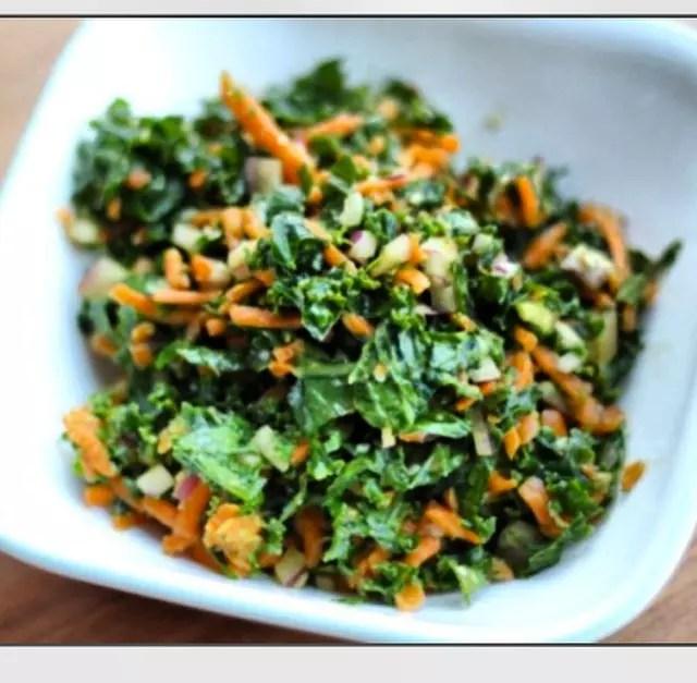 Paleo Kale and Cucumber Salad with Lemon Tahini Dressing