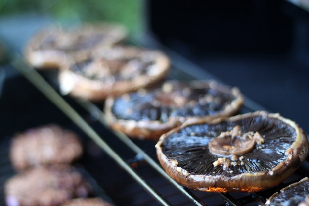 Grilling the mushrooms on the top rack for 5 minutes per side