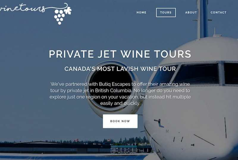 private jet wine tour bc