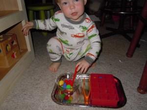 Blake using the 1-to-1 tray