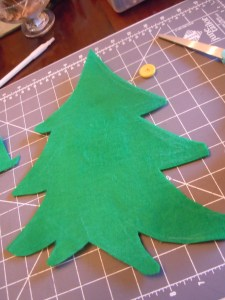 Tree shape in green felt