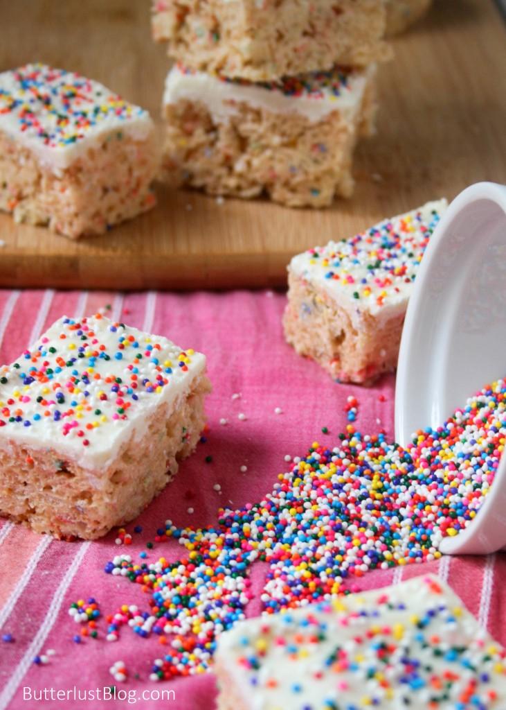 White Chocolate Cake Batter Rice Krispie Treats