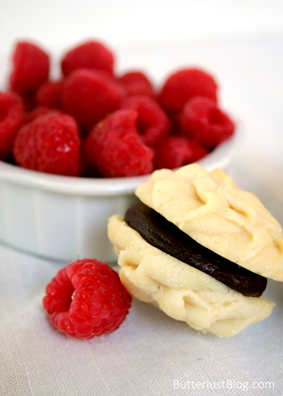 Chocolate Raspberry Ganache Filled Meltaway Cookies