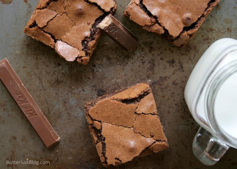 Ooey Gooey Kit Kat Caramel Brownies // butterlustblog.com