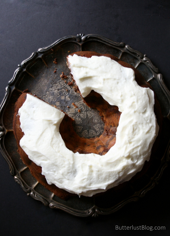 Nutella Swirl Bundt Cake with Fluffy Cream Cheese Frosting | Butterlust Blog