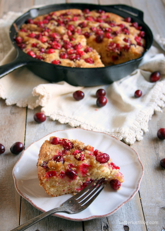 Cranberry Cornmeal Skillet Cake | ButterlustBlog.com