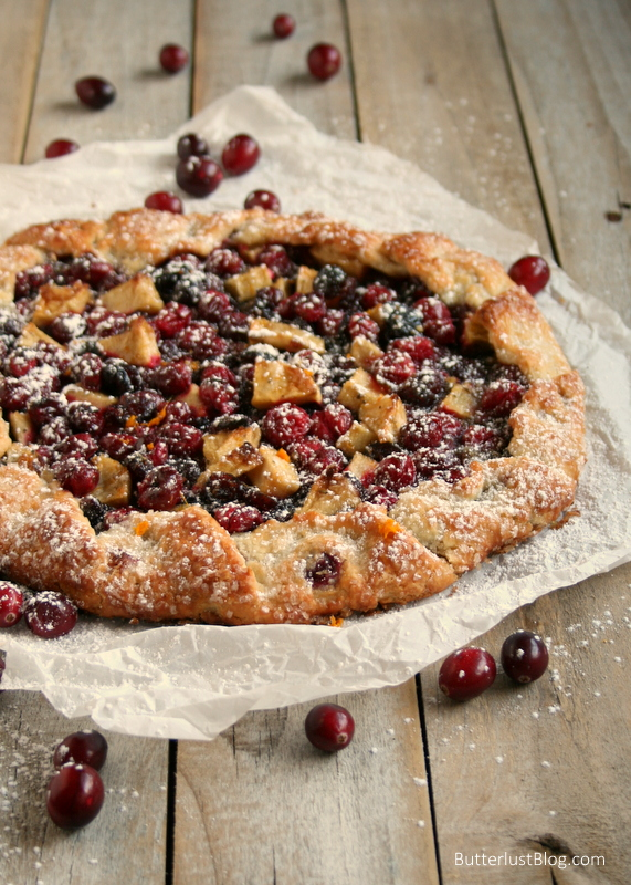 Festive Cranberry Orange Galette with Rosemary and Ginger | ButterlustBlog.com