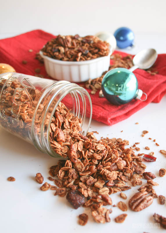 Gingerbread Granola with Cranberries & Pecans | Butterlust Blog #GlutenFree
