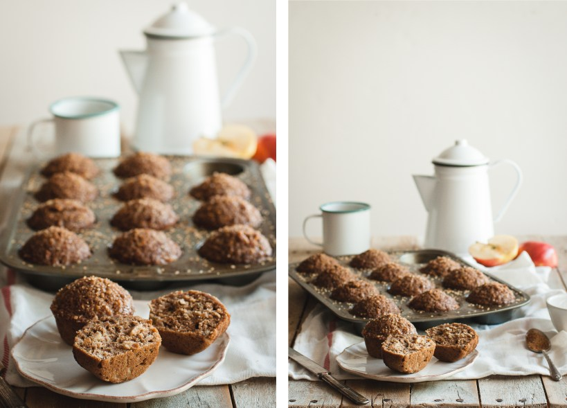 Healthy Apple, Maple & Pecan Muffins // butterlustblog.com #dairyfree #refinedsugarfree #wholewheat