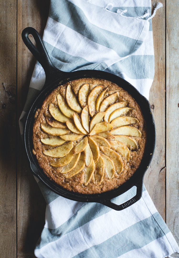 Apple Almond & Ricotta Skillet Cake -- a simple, rustic cake made with almond flour, ricotta and spiced apples // butterlustblog.com @butterlustblog